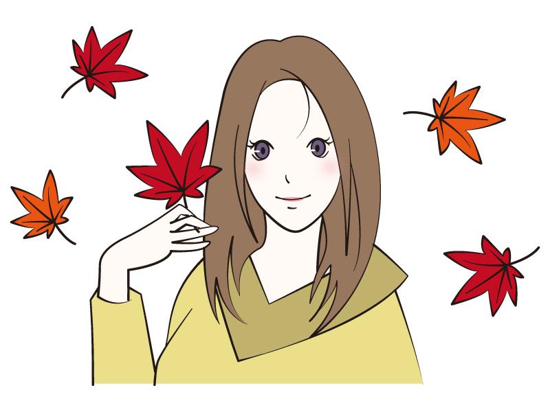紅葉(もみじ)を手に持つ女性のイラスト