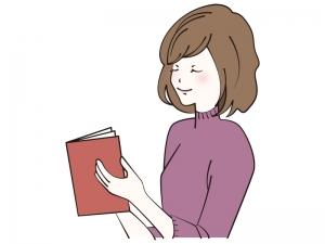 赤い本を読書をする女性のイラスト