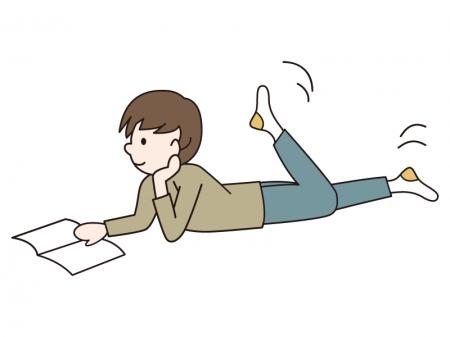 寝転びながら本を読む少年のイラスト  |  無料のイラストやかわいいテンプレート | 素材ライブラリー