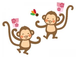 羽根つきをする2匹のお猿さんのイラスト