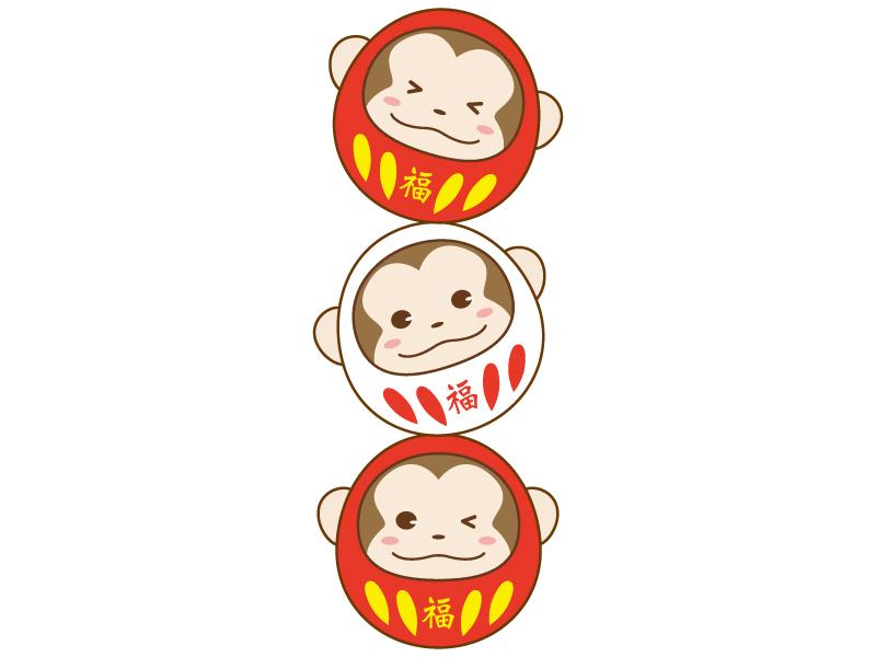 縦に連なったお猿さんの紅白ダルマのイラスト