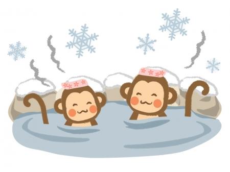 温泉に入るお猿さんのイラスト