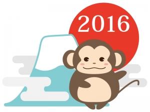 お猿さんと富士山・初日の出の年賀イラスト