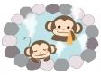 温泉に入るお猿さんのイラスト02