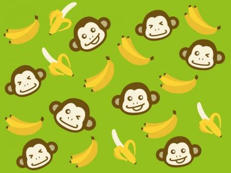たくさんのバナナとお猿さんのイラスト