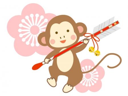 破魔矢を持つお猿さんのイラスト
