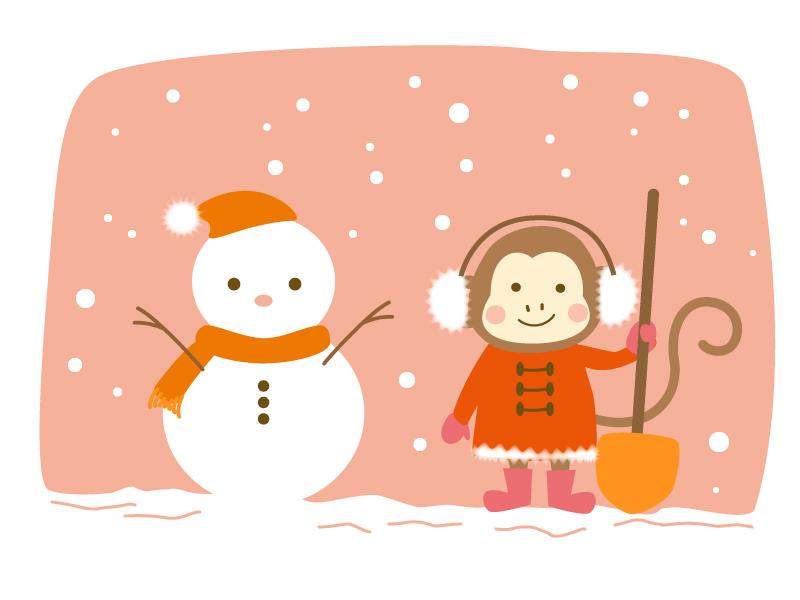 雪だるまとお猿さんのイラスト