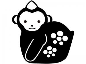 猿の置物のシルエットイラスト