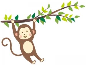 木にぶら下がるお猿さんのイラスト