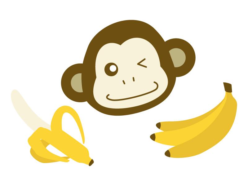 お猿さんの顔とバナナのイラスト