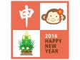 申・門松・お猿さん(オレンジ)の年賀イラスト