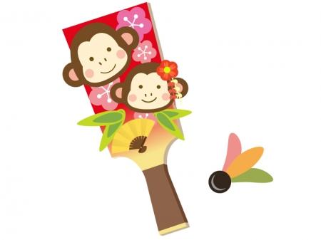 お猿さんの羽子板・羽根つきのイラスト