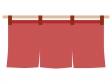 赤い暖簾(のれん)のイラスト