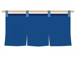 青い暖簾(のれん)のイラスト