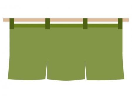 緑色の暖簾(のれん)のイラスト