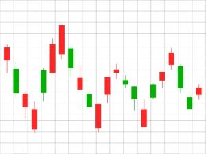 株価・FXのボックス相場のローソク足チャートのイラスト