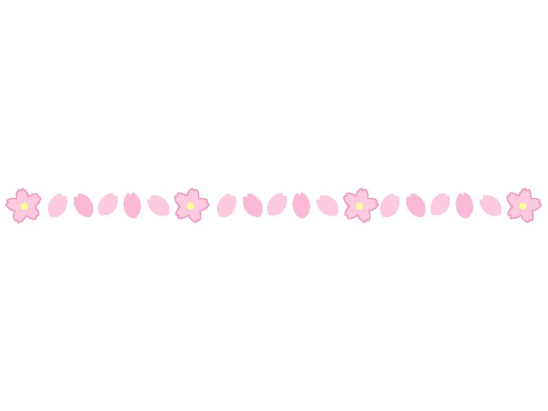 桜の花びらの線・ライン素材