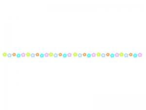 カラフルな小花の線・ライン素材