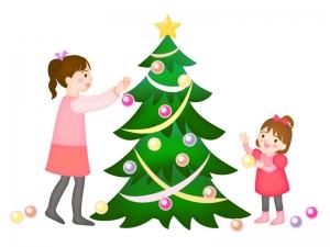 クリスマスツリーに飾り付けをしているイラスト