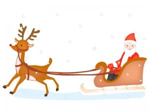 トナカイとサンタクロースのクリスマスイラスト