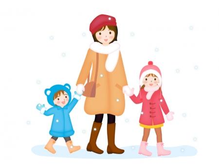 冬にお出かけする親子のイラスト