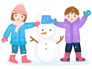 雪だるまを作る子供達のイラスト