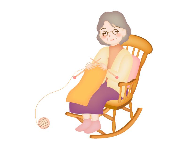 ロッキングチェアで編み物をするおばあちゃんのイラスト