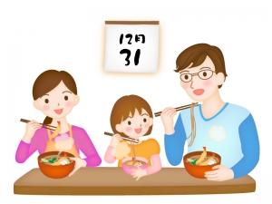 年越しそばを食べる親子のイラスト
