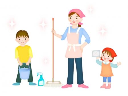 親子で掃除をしているイラスト