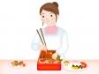 おせち料理を作る主婦のイラスト