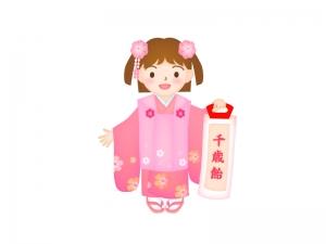 七五三で千歳飴を持っている女の子のイラスト02