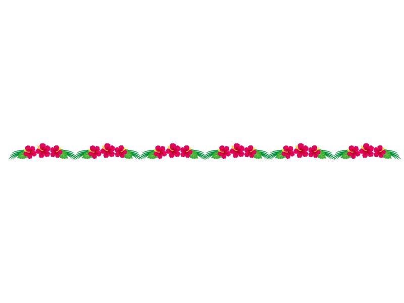 赤いハイビスカスのライン・線イラスト