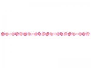ピンク色のコスモス(秋桜)のライン・線イラスト