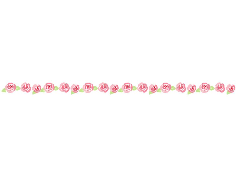 ピンク色のバラのライン・線イラスト