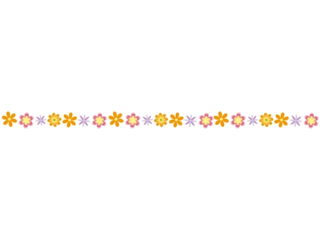 カラフルな小花のライン・線イラスト02