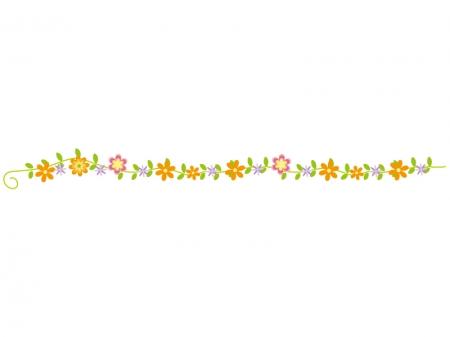 カラフルな小花と草・ツタのライン・線イラスト