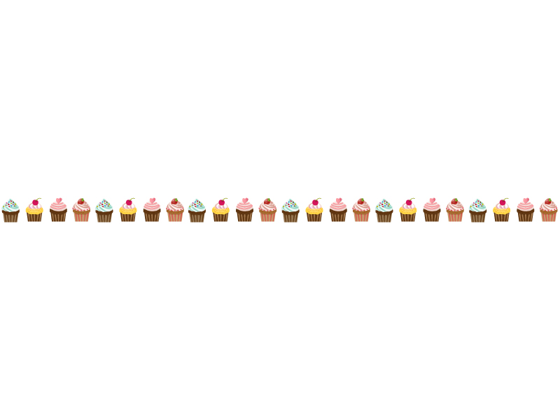 カップケーキのライン・線イラスト