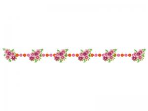ピンク色のコスモス(秋桜)のライン・線イラスト02