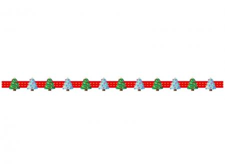 クリスマスツリー・冬のライン・線イラスト