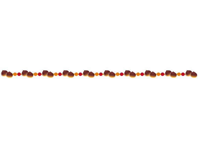 栗・秋のフレーム・枠のライン・線イラスト