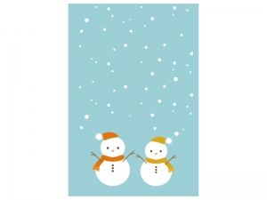 文字無し・雪だるまの寒中見舞いテンプレートイラスト01