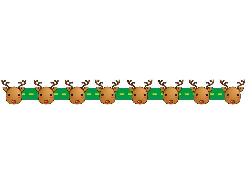 クリスマス・トナカイのライン・線イラスト
