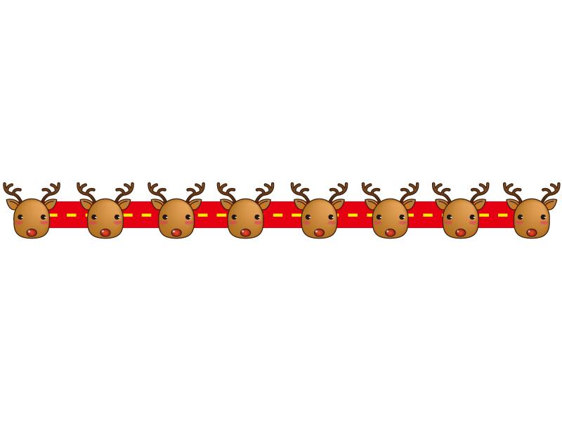 クリスマス・トナカイの赤色ライン・線イラスト