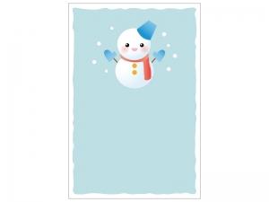 文字無し・雪だるまの寒中見舞いテンプレートイラスト02