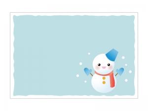 文字無し・雪だるまの寒中見舞いテンプレートイラスト03