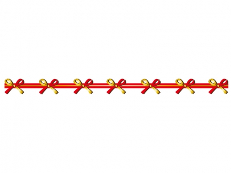 金と赤のリボンのライン・線イラスト