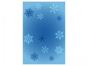 文字無し・雪の結晶の寒中見舞いテンプレートイラスト01