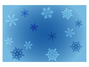 文字無し・雪の結晶の寒中見舞いテンプレートイラスト02
