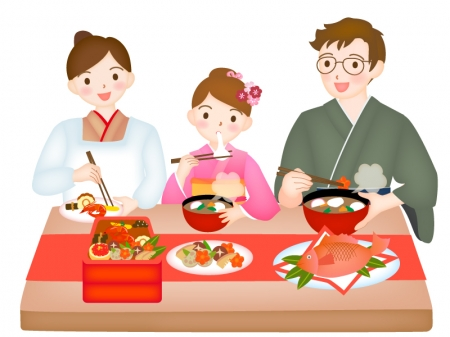 おせち料理を食べている家族のイラスト