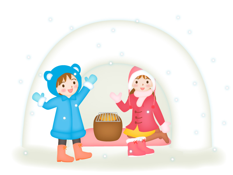 冬・かまくらで遊ぶ子供のイラスト